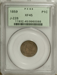 1859 P1C Indian Cent, Judd-228, Pollock-272, R.1, XF45 PCGS. A transitional pattern that mates an 1859 obverse with the...