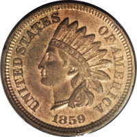 1859 P1C Indian Cent, Judd-228, Pollock-272, R.1, MS63 NGC. The obverse has the regular issue 1859 Indian cent obverse d...