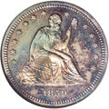 1859 P25C Quarter Dollar, Judd-234, Pollock-281, Low R.7, PR65 NGC. The obverse is of the regular issue 1859 Seated Libe...