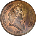 Patterns: , 1859 P50C Half Dollar, Judd-240, Pollock-296, R.5, PR66 Red and Brown NGC. On the obverse Liberty faces right with laurel a...