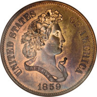 1859 P50C Half Dollar, Judd-240, Pollock-296, R.5, PR66 Red and Brown NGC. On the obverse Liberty faces right with laure...