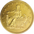 Patterns: , 1859 Double Eagle, Judd-257, Pollock-305, R.6, PR62 Gilt NGC. A seated figure of Liberty faces left on the obverse supportin...