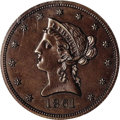 Patterns: , 1861 $10 Ten Dollar J-287, P-344. R.7 PR65 Brown NGC. Both the obverse and reverse designs are similar to that used on regu...