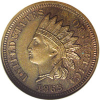 1863 1C Indian Cent, Judd-299, Pollock-359, R.3, PR65 Red and Brown NGC. The regular issue designs for the 1863 Indian c...