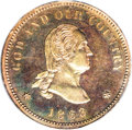 Patterns: , 1863 2C Two Cents, Judd-305, Pollock-370, R.4, PR65 Red and BrownPCGS. On the obverse a bust of George Washington faces ri...