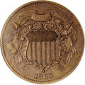 1863 2C Two Cents, Judd-312, Pollock-377, R.4, PR64 Brown PCGS. The obverse is similar to the regular issue obverse of 1...