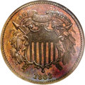 Patterns: , 1863 2C Two Cents, Judd-312, Pollock-377, R.4, PR65 Red and BrownNGC. Both dies are similar to those adopted for the busin...