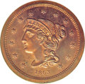 Patterns: , 1863 3C Three Cents, Judd-319 Restrike, Pollock-384, R.5-6, PR66Red and Brown NGC. The obverse is similar to the Braided H...