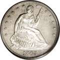 Patterns: , 1863 50C Half Dollar, Judd-340, Pollock-412, Low R.6, PR64 PCGS.The obverse is the regular issue design for the 1863 Seate...