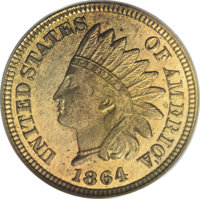 1864 1C Indian Cent, Judd-353, Pollock-425, Low R.6, PR65 PCGS. The regular issue designs for the 1864 Indian cent witho...