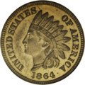 1864 1C One Cent, Judd-355, Pollock-425, High R.7, MS64 PCGS. Struck from regular issue plain edge No L dies, but in an...