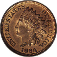 1864 1C Indian Cent, Judd-356a, Pollock-427, Low R.6, MS65 Red and Brown PCGS. Regular dies struck on bronze with a plai...