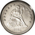 1864 25C Seated Liberty Quarter Dollar, Judd-384, Pollock-452, Low R.7, PR64 PCGS. The regular issue design for the 1864...