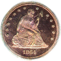1864 25C Quarter Dollar, Judd-387, Pollock-455, Low R.7, PR67 Red and Brown PCGS. Ex: Bass. Similar to the regular issue...