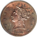 Patterns: , 1865 $10 Liberty Head Eagle, Judd-450, Pollock-522, High R.6, PR64Red and Brown PCGS. The regular issue With Motto eagle d...