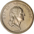 Patterns: , 1866 5C Five Cents, Judd-481, Pollock-571, Low R.7, PR65 NGC.Five-cent pattern with the head of Washington facing right. T...