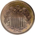 Patterns: , 1866 5C Shield Five Cents, Judd-490, Pollock-578, Low R.7, PR65Brown PCGS. Shield design obverse, similar to that adopted,...