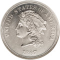 Patterns: , 1867 5C Indian Head Five Cents, Judd-561, Pollock-622, R.5, PR64 NGC. A Liberty head on the obverse faces left with the leg...