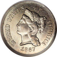 1867 5C Five Cents, Judd-566, Pollock-627, Low R.6, MS63 PCGS. The obverse is similar in design to the contemporary Thre...