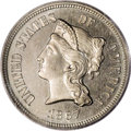 Patterns: , 1867 5C Five Cents, Judd-570, Pollock-638, R.5, PR64 PCGS. TheCoronet Head of Liberty on the obverse with the denomination...
