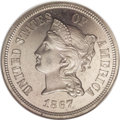 Patterns: , 1867 5C Coronet Five Cents, Judd-570, Pollock-638, R.5, PR65 NGC.On the obverse, Liberty is wearing a coronet inscribed LI...