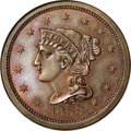 Patterns: , 1868 10C Braided Hair Ten Cents, Judd-648, Pollock-721, High R.6,PR66 Brown NGC. Liberty faces left with braided hair, cop...