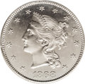 Patterns: , 1868 $10 Liberty Head Eagle, Judd-663, Pollock-736, High R.6, PR63PCGS. The obverse has a bust of Liberty facing left, wea...