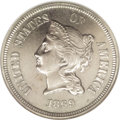 Patterns: , 1869 5C Coronet Five Cents, Judd-684, Pollock-763, R.5, PR64 NGC.On the obverse, Liberty is wearing a coronet inscribed LI...