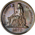 Patterns: , 1870 10C Barber's Seated Liberty Dime, Judd-834, Pollock-924, High R.6, PR64 Red and Brown PCGS. William Barber's Seated Li...