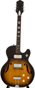 Musical Instruments:Electric Guitars, 1960's Harmony H70 Project Sunburst Semi-Hollow Body ElectricGuitar...