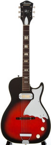 Musical Instruments:Electric Guitars, 1960's Harmony Stratotone Redburst Solid Body Electric Guitar...