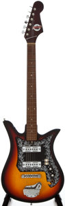 Musical Instruments:Electric Guitars, 1960's Teisco Del Rey Project Sunburst Solid Body ElectricGuitar...
