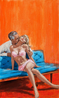 PAUL RADER (American, 1906-1986) The Boss' Couch, paperback cover, 1968 Gouache on board 25 x 18