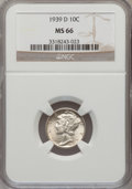 Mercury Dimes: , 1939-D 10C MS66 NGC. NGC Census: (428/252). PCGS Population(702/198). Mintage: 24,394,000. Numismedia Wsl. Price for probl...