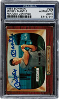 Baseball Cards:Singles (1950-1959), Signed 1955 Bowman Mickey Mantle #202 PSA/DNA Authentic. ...