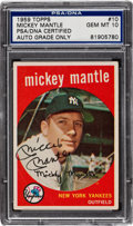 Autographs:Bats, Signed 1959 Topps Mickey Mantle #10 PSA/DNA Gem MT 10. HighestGraded Example! ...