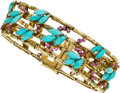 Estate Jewelry:Bracelets, Ruby, Turquoise, Gold Bracelet, circa 1950. ...