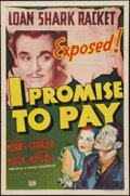 """Movie Posters:Crime, I Promise to Pay (Columbia, 1937). One Sheet (27"""" X 41""""). Crime....."""