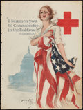 "Movie Posters:War, World War I Propaganda Poster (Red Cross, 1918). Poster (30"" X 40"")""I Summon You to Comradeship in the Red Cross."" War.. ..."