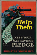 "Movie Posters:War, World War I Propaganda Poster (U.S. Treasury Dept., 1918). Poster (20"" X 30"") ""Help Them."" War.. ..."