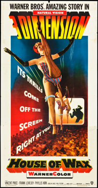 """House of Wax (Warner Brothers, 1953). Three Sheet (41"""" X 81"""") 3-D Style. Horror"""