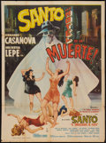 "Movie Posters:Mystery, Santo in the Hotel of Death (Peliculas Rodriguez, S.A., 1963).Mexican One Sheet (27"" X 37""). Mystery.. ..."