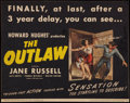 """Movie Posters:Western, The Outlaw (RKO, R-1950). Title Lobby Card (10.25"""" X 13""""). Western.. ..."""