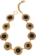 Luxury Accessories:Accessories, Chanel Gold Tone & Black Gripoix Necklace. ...