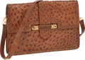 Luxury Accessories:Bags, Gucci Natural Cognac Ostrich Vintage Envelope Clutch Bag withRemovable Strap. ...