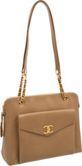 Luxury Accessories:Bags, Chanel Beige Caviar Leather Large Classic Bag with Long Straps. ...