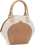 Luxury Accessories:Bags, Lana Marks Two-Tone Shiny Alligator Classic Bowling Bag. ...
