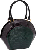 Luxury Accessories:Bags, Lana Marks Two-Tone Shiny Alligator Graphite & Green ClassicBowling Bag. ...