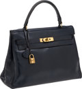 Luxury Accessories:Bags, Hermes Vintage 32cm Anthracite Calf Box Leather Kelly Bag with GoldHardware. ...