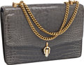 Luxury Accessories:Bags, Gucci Slate Grey Shiny Crocodile with Double Chain Strap Flap Bag....